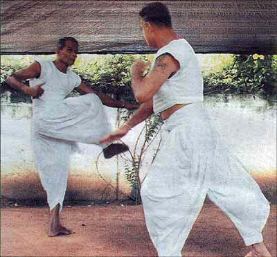 Two Anangpora gurus during a sparring session
