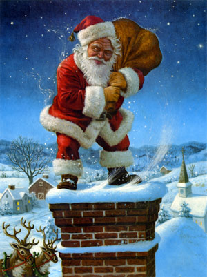 santa upon the chimney