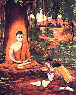 Sujata offers milk rice to the bodhisattva Gautama seated under the Bodhi Tree